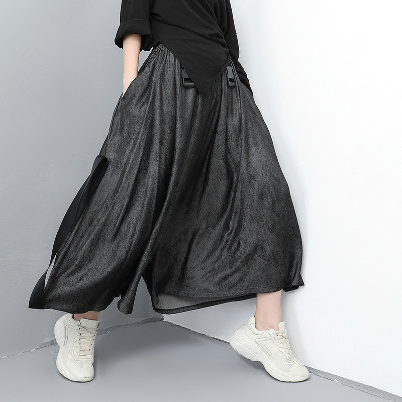 LANMREM Spring Summer Clothes New Pattern Elasti Waist Solid Color   Wide     Leg     Pants   Personality Loose Hip Hop Casual   Pants   YG67701
