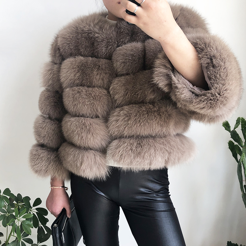 2019 new style real fur coat 100% natural fur jacket female winter warm leather fox fur coat high quality fur vest Free shipping 41