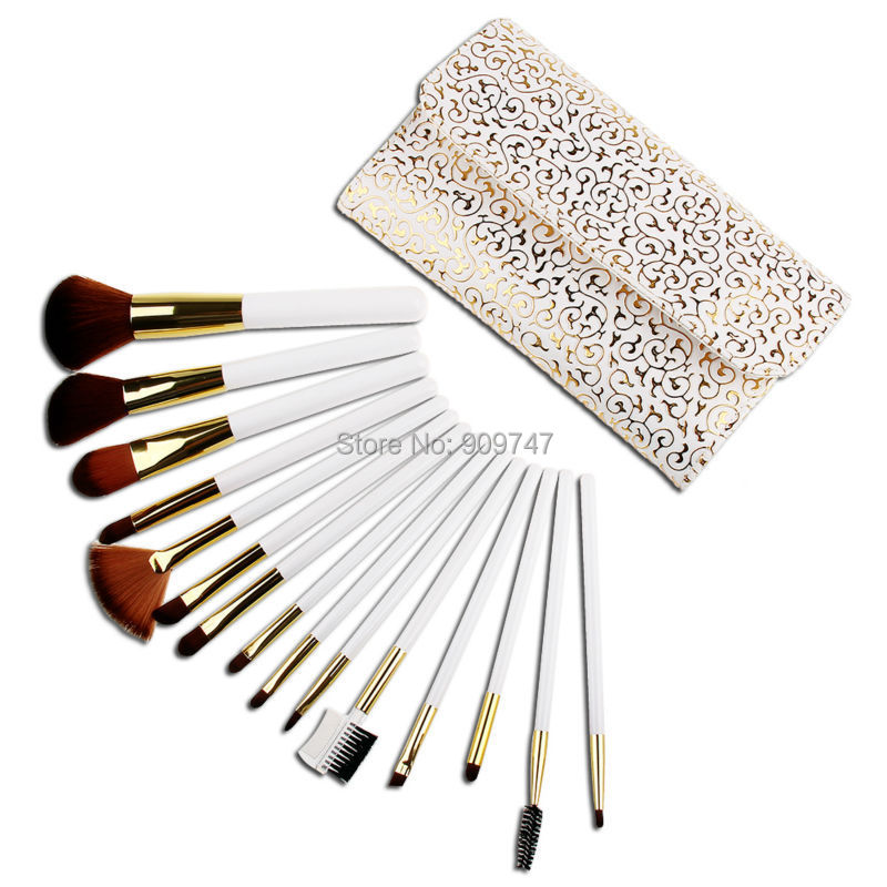High Quality 15pcs Makeup Brushes Nylon Hair Make Up Brush Beauty Comestic Brush Set With Delicate White Patterns PU Case nature hair makeup brush set 22pcs high quality red beauty tools kit with case