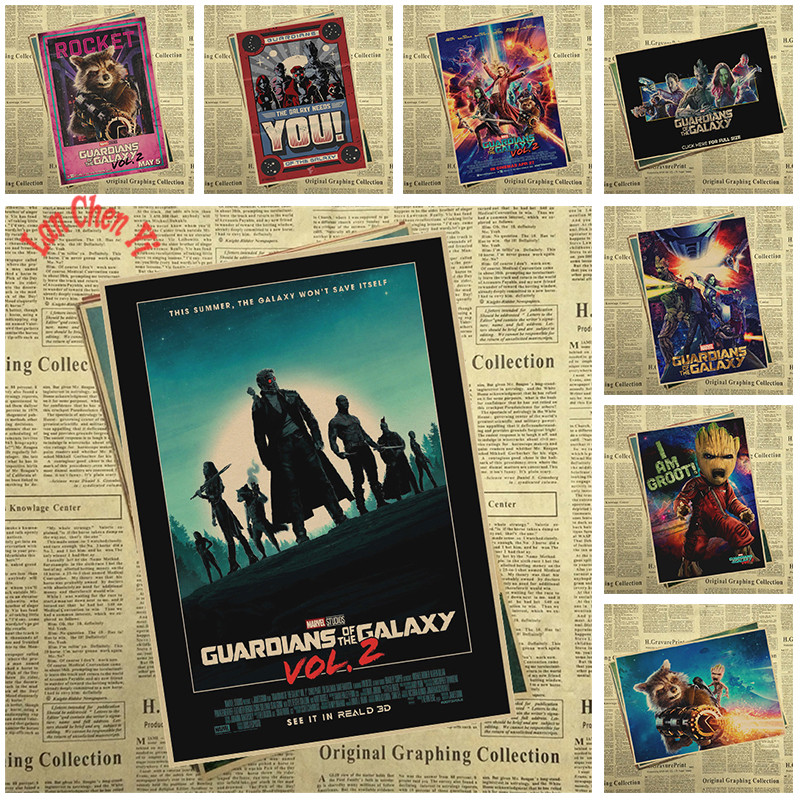 Guardians of the Galaxy Series 2 Matte Kraft Paper Poster Cafe Creative wallpaper Interior Decoration