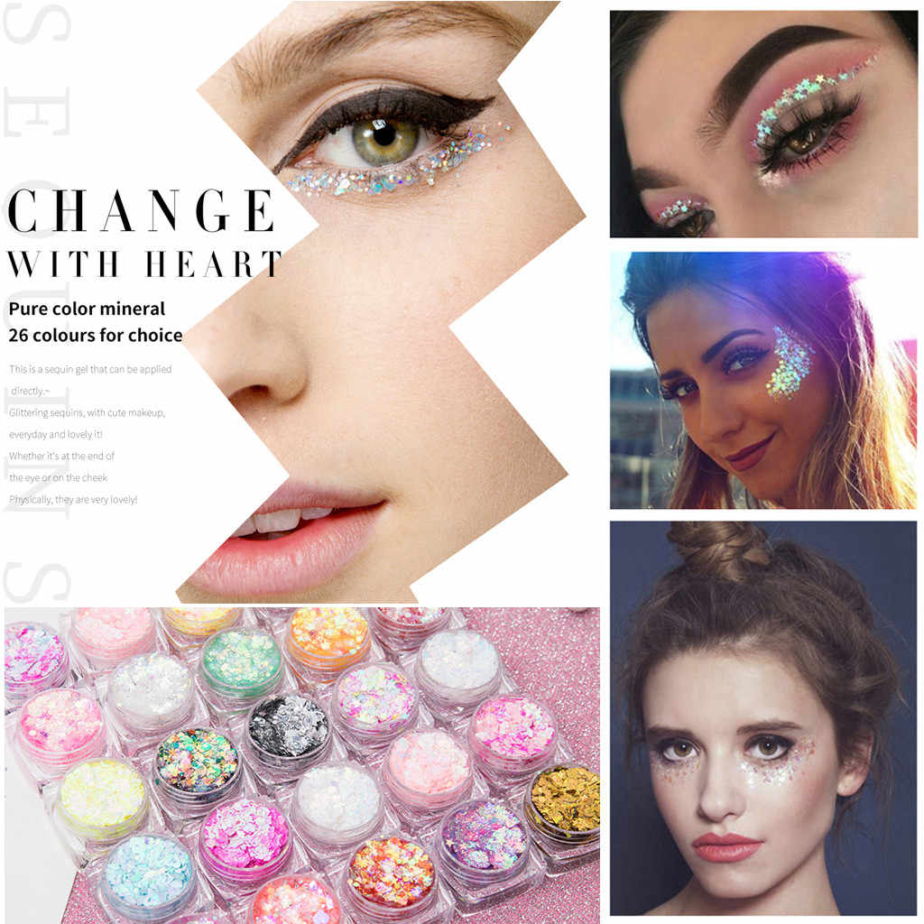 New Hybrid Sequins Glitter Round Colorful Glitter Pots Nail Face body Shadow Glitter Beauty Makeup Shinning Glitter Powder *