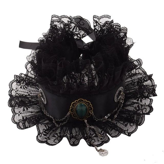 Cosplay Gem Gear Chain Ruffled Collar Vintage Elizabethan Victorian Lace Neck Ruff
