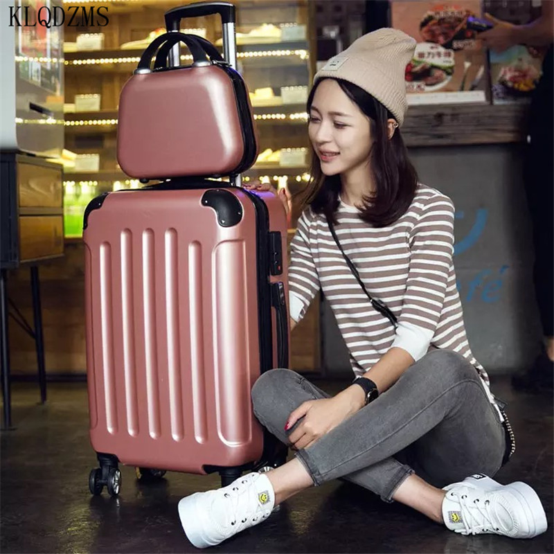 KLQDZMS 20/22/24/26/28inch Girls Travel Suitcase On Wheels Women Fashion Rolling Luggage Sets ABS+PC Trolley Bags