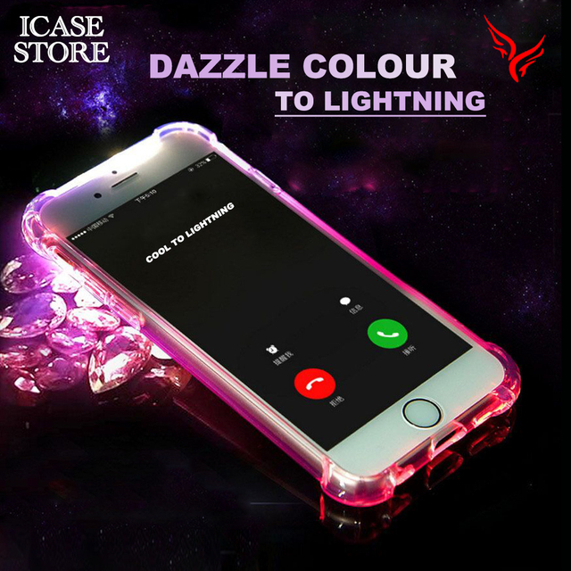 d45217d7b17 Ikase store Lighting Up Phone Case for iPhone 5 5S SE X 6 7 6S 8 Plus Soft  TPU Incoming Call Light Transparent phone cover