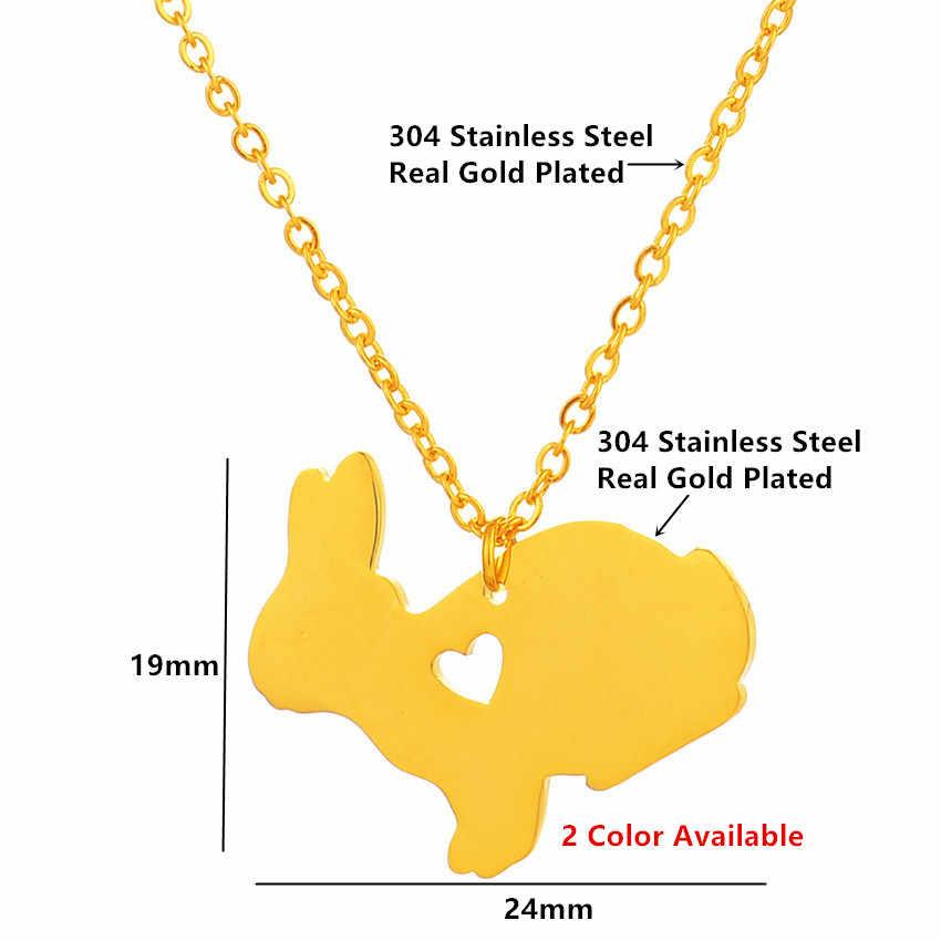 Lucu Warna Emas Kelinci Hewan Peliharaan Kerah Kalung Wanita Anak-anak Perhiasan Stainless Steel Hati Kecil Kelinci Liontin Kalung Terbaik Teman Hadiah