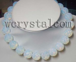 18mm Round Faceted Opalite Moonstone Necklace 18