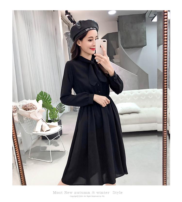 fashion bow collar women dresses party night club dress 2019 new spring long sleeve solid chiffon dress women clothing B101 19