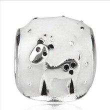 Regalos de navidad Envío Gratis 1 unid 100% Astilla de 925 Sterling Lindo Reno White Snow Globe Charm Fit charm Pulseras y Bangels