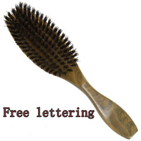 1PC Natural Wild Boar Bristles Comb Hair Brush Green Sandalwood Handle Brosse Hair Care Comb DE14