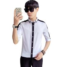 LOLDEAL Summer New Wave Mens Seven-point Sleeve Shirt Youth Slim Casual Long-sleeved Print Line