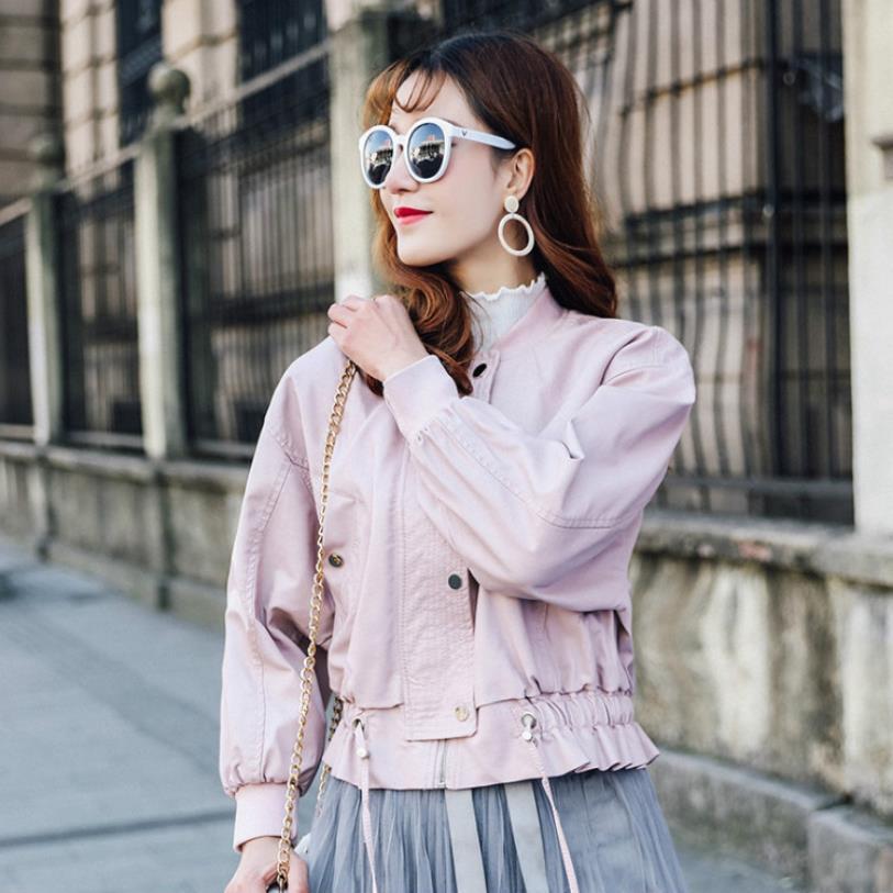 Ruffles patchwork slim women PU jackets coats 2019 spring autumn new fashion Standing collar female   Leather   outerwear gx811