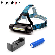 CREE Q5 +6 LED headlight Portable outdoor working head band lamp 18650 rechargeable head lamp light + 18650 battery + charger