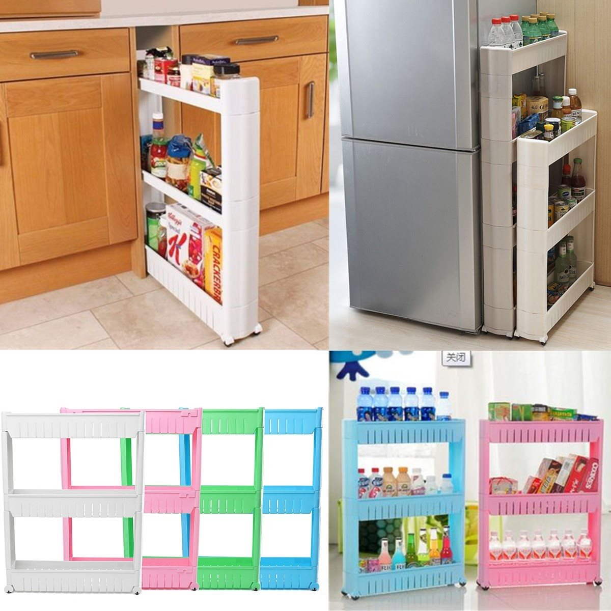 Delightful 3 Tier Movable Kitchen Slide Out Trolley Spice Rack Detachable Rolling  Plastic Organizer Shelf Home Bathroom Sundries Storage In Storage Holders U0026  Racks ...
