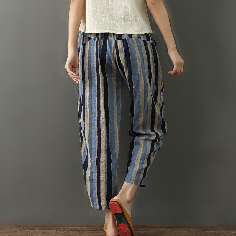 National wind striped cotton and linen nine pants women 2019 new literary large size female pants loose high waist harem pants 2