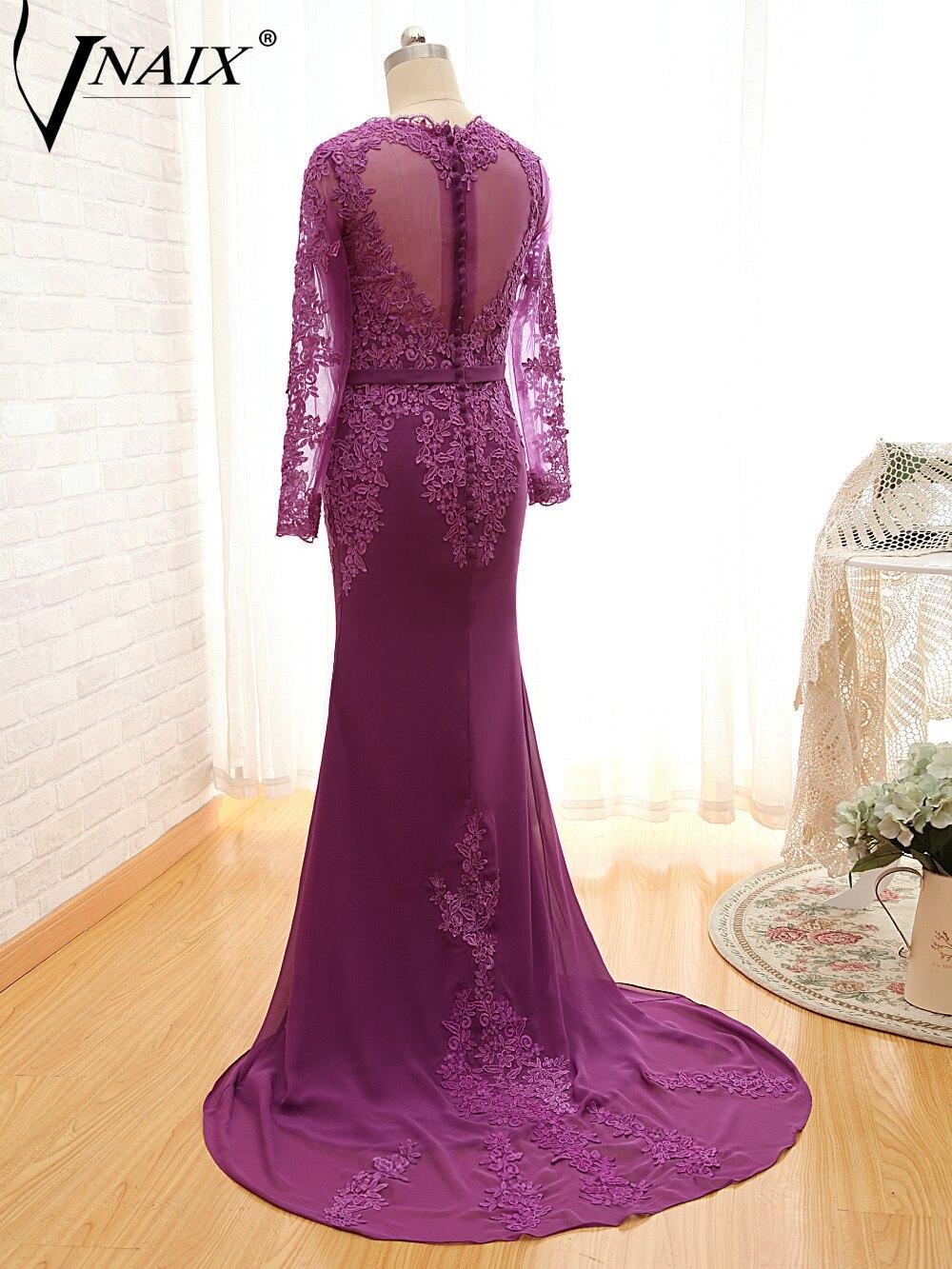 M1006 Real Photo V шеи Кружева длинным рукавом Русалка шифон мама невесты платье Пользовательские настройки