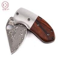 OMY Damascus Folding Pocket Knife Mini Hunting Knife Sandalwood Handle Camping Tactics Survival Knives Outdoor Tool