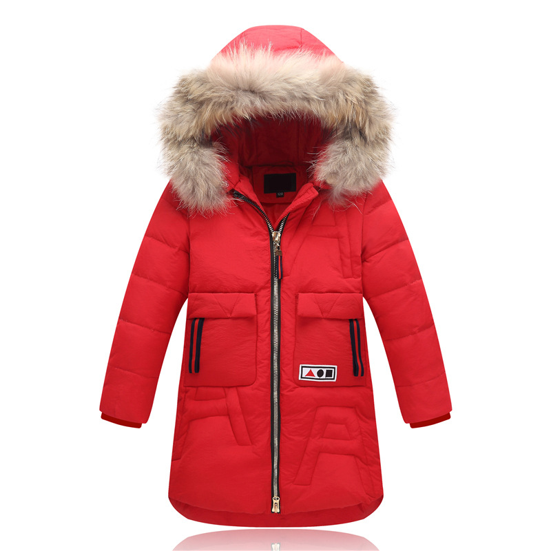 Long Solid Coat White Duck Down 5-14T Kids Thickening Winter Coat Winter Coat Warm Down Parkas Cartoon Fur Hooded Down  Retail white duck down 2016 fashion women winter coat elegant solid slim hooded zipper long down coat