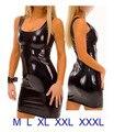 XXXL Plus Size Lingerie Conjunto Babydoll Exotic Erotic PU Mulheres Bodysuit de Couro Preto Barato Sexy Collant de Couro Desgaste do Clube Lingerie