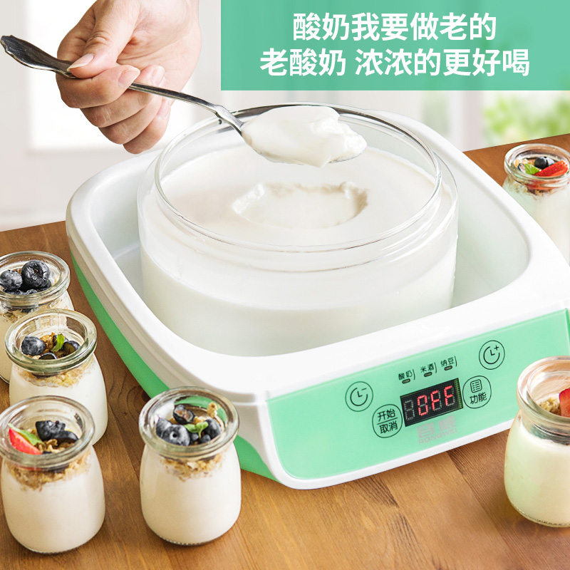 RW 1.5L Automatic Natto Yogurt Makers Light Green Household Intelligent Rice Wine Yogurt Machine with Glass Liner Free Shipping purple yogurt makers rice wine natto machine household fully automatic yogurt glass sub cup liner multifunctional kitchen helper