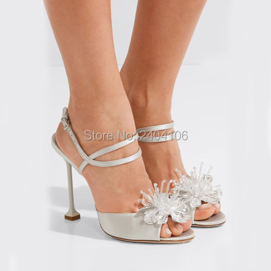 Shooegle Elegant Summer Shoes Women Sandalias Tacon Crystal Flower Sandles Bridal Wedding Stilettos Peep Toe Sandals High Heels