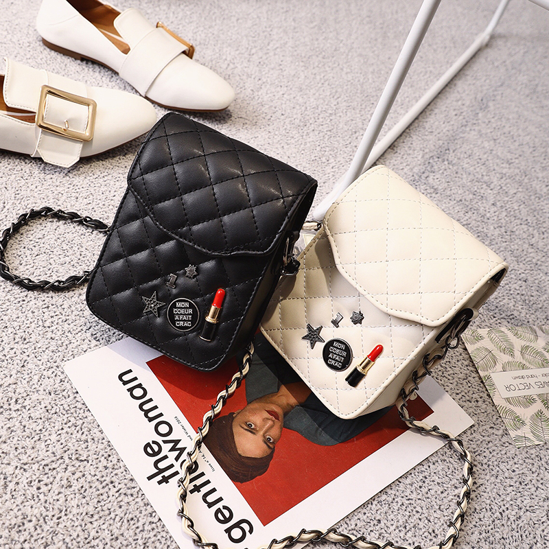 2017 Brand design pu leather mini women crossbody bags sequined lady girls phone purse bags black color 300