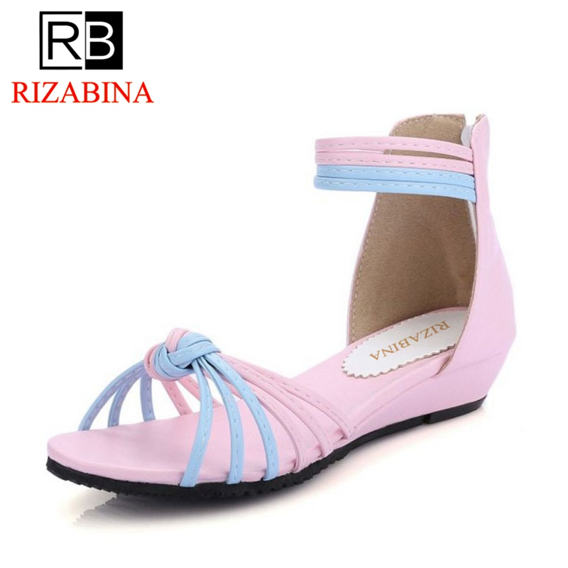 RizaBina Women Flats Sandals Ankle-Strap Shoes Summer Sandals Flip Flop Sandale Femme Mixed Color Shoses Woman Size31-43 PA00728