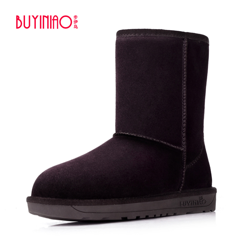 BUYINIAO Brand 2017 Plus Size Snow Boots Designer Women Winter Boots High Top Mid-calf Boots Good Quality Botas Mujer 41.42.43 double buckle cross straps mid calf boots