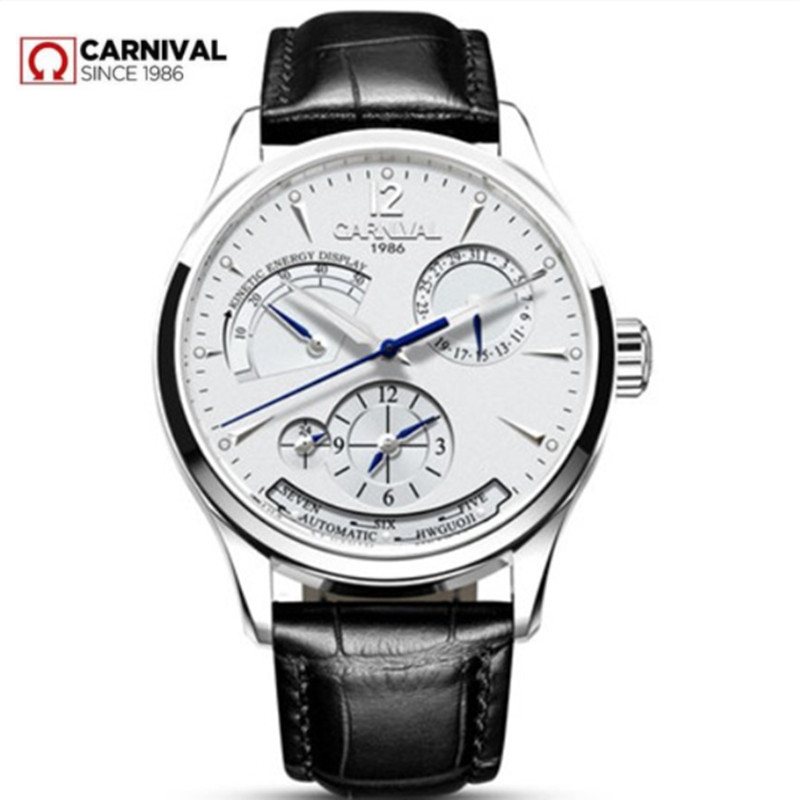 Carnival energy display automatic mechanical Watches Men Luxury Brand Watch men clock military genuine leather strap