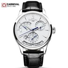 купить New Carnival energy display Men automatic mechanical Watches Luxury Brand Waterproof Watch military genuine leather strap montre дешево