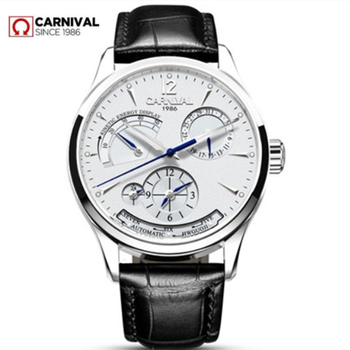 Carnival energy display automatic mechanical Watches Men Luxury Brand Watch men clock military genuine leather strap montre saat weide brand leather sport quartz watches men water resistant mehanical hand wind analog automatic self wind luxury clock saat