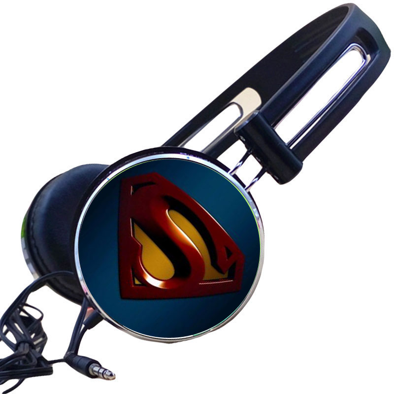Wholesale Custom Comics Superman S Manga Logo Anime Headphone Adjustable Sport Headphones Gaming Headset Wired Stereo Headphones