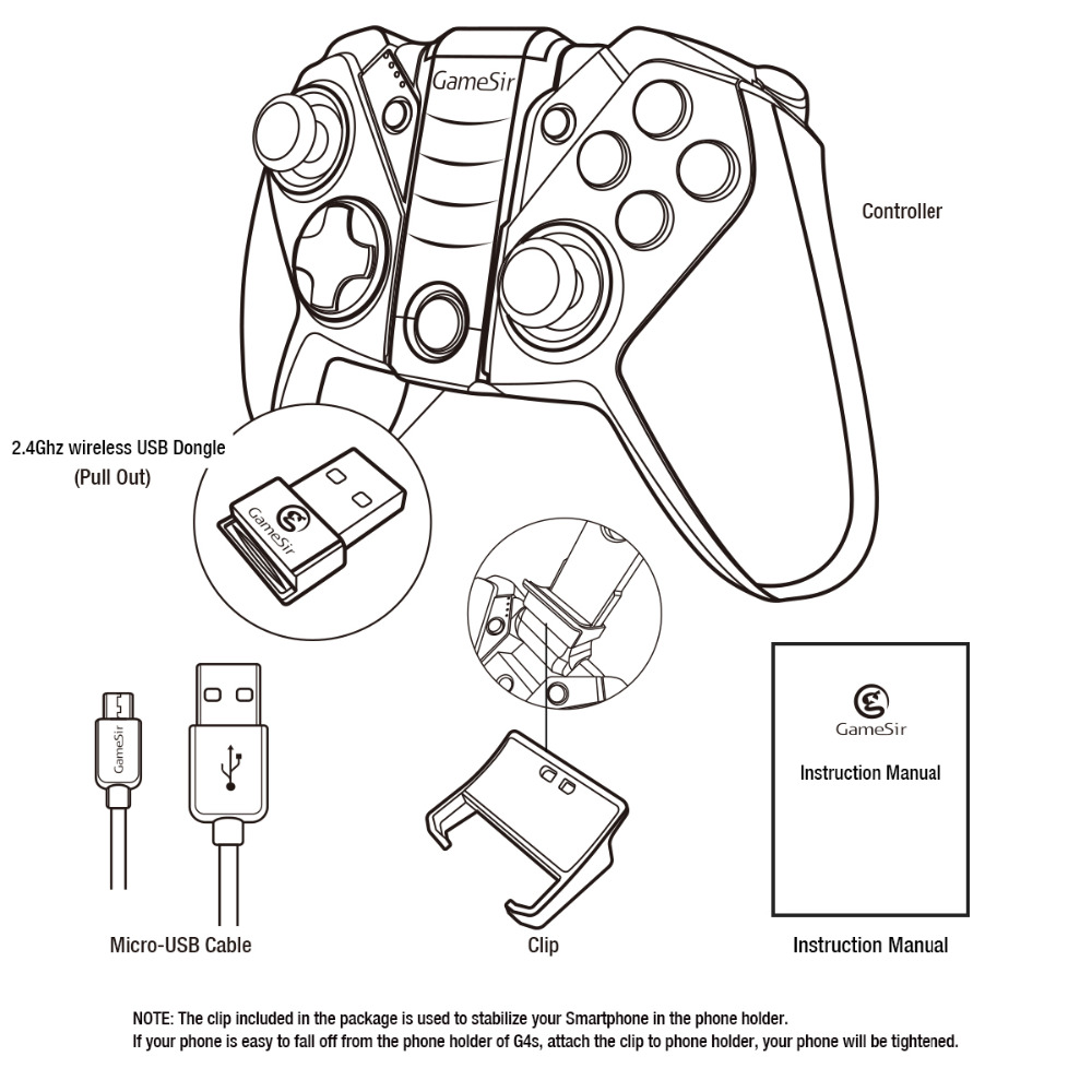 GameSir G4s bluetooth sans fil Gamepad joystick de jeu jouer pour boîtier de télévision androïde tablette smartphone PC VR, avec 2.4G USB Dongle - 5