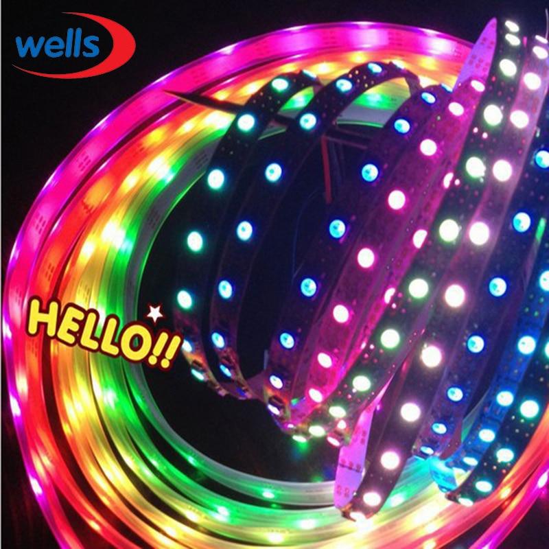 50 м 10X5 м 60 пикс./м индивидуально адресуемых WS2812B WS2811 5050 RGB Светодиодные ленты 5 V белый/черный не обладает водонепроницаемостью: - 6