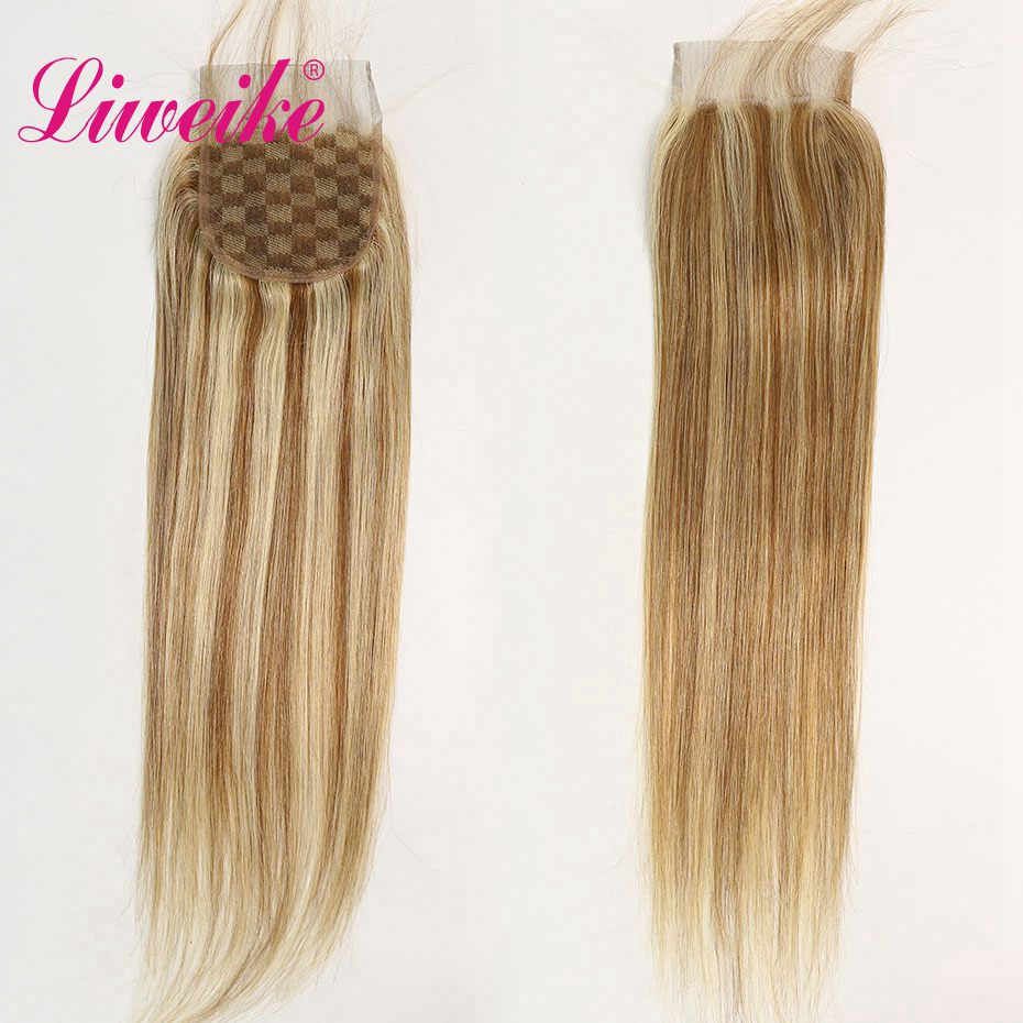 Liweike Color P8/613 Straight Hair 4*4 Lace Closure 100% Brazilian Remy Human Hair Full Ends Frontal Free Part With Baby Hair image