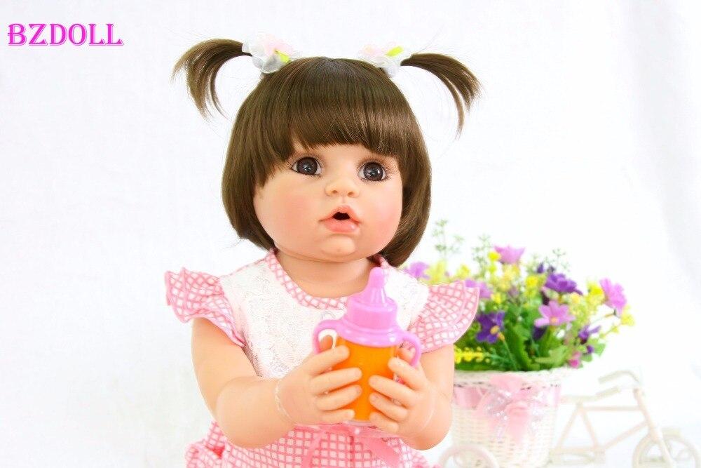 55cm Full Body Silicone Reborn Baby Doll For Girls Vinyl Newborn Princess Babies Doll Birthday Gift
