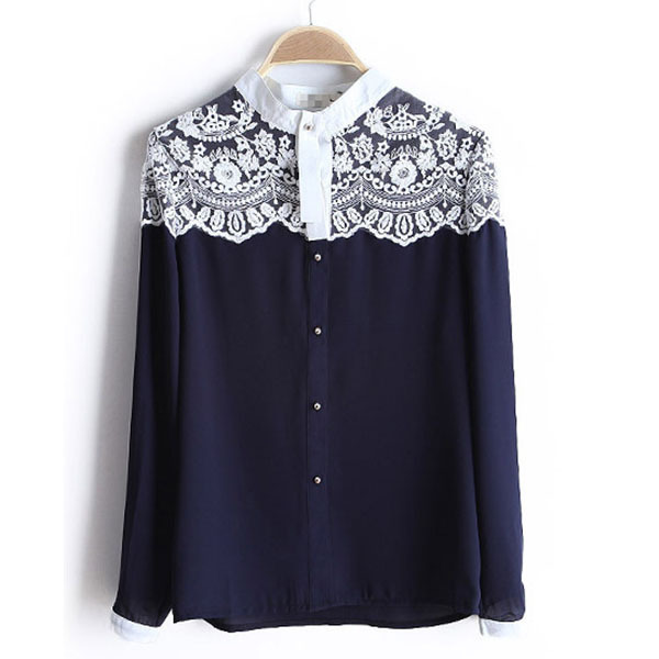 2019 Women Fashion Lace Floral Women Chiffon   Shirt   Tops Button Down Long Sleeve Loose Ladies   Blouse     Shirt   Hot