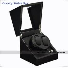Качество черный фортепиано дважды автоматические часы намотки и ящик для хранения чехол для лучший рождественский подарок на день рождения GC03-S33BB