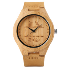 Casual Wood Watches Saint Petersburg Pattern Genuine Leather Band Strap Sports Quartz Clock Relogio Masculino As Gift Item