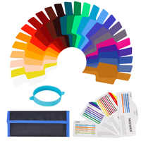 Neewer 24 Pieces Camera Flash Speedlite Lighting Color Gel Filter Kit-Transparent Color Correction Lighting Film Plastic Sheet