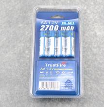 20pcs/lot Trustfire AA 2700mAh NI-MH 1.2V Rechargeable Battery For Toys MP3 Camera With Package Case Size 5 Batteries