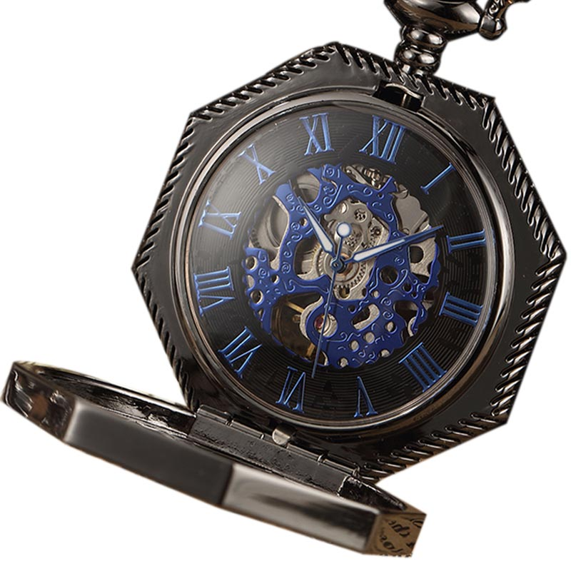 Skeleton Steampunk Polygon Mechanical Pocket Watch Hand Wind Roman Number Dial  Pocket Clock With Chain Men Women Gold/BlackSkeleton Steampunk Polygon Mechanical Pocket Watch Hand Wind Roman Number Dial  Pocket Clock With Chain Men Women Gold/Black