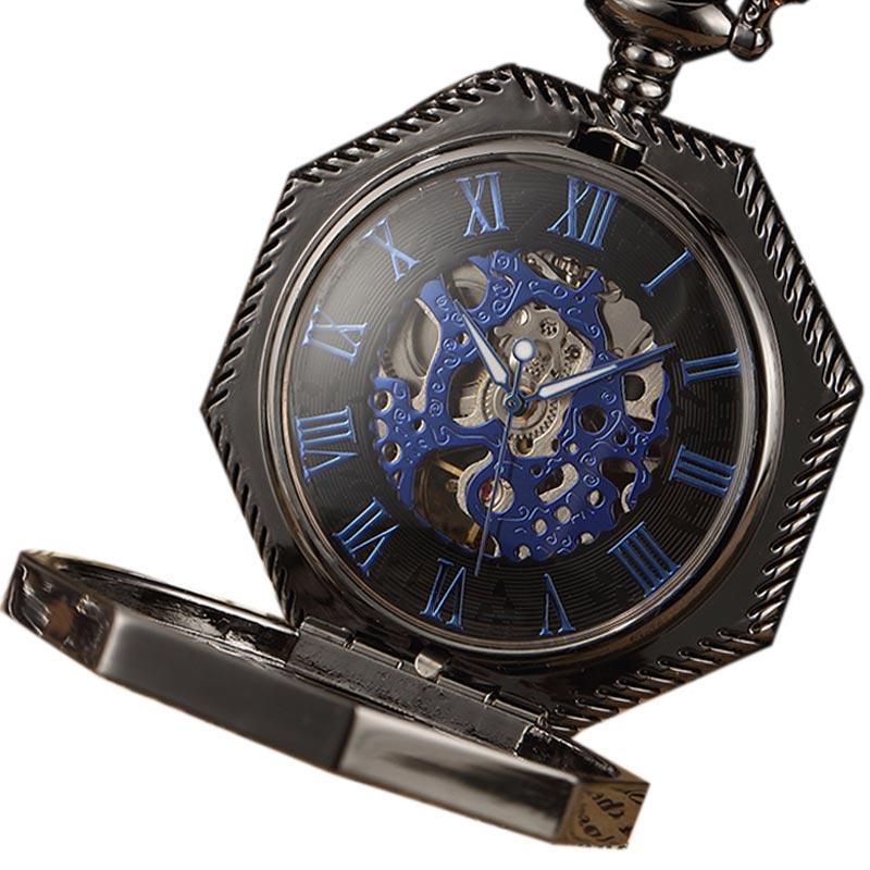 Skeleton Steampunk Polygon Mechanical Pocket Watch Hand Wind Roman Number Dial  Pocket Clock With Chain Men Women Gold/Black