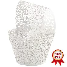 METABLE 100pcs Cupcake Wrappers Artistic Bake Cake Paper Cups Little Vine Lace Laser Cut Liner Baking Cup Muffin (White)