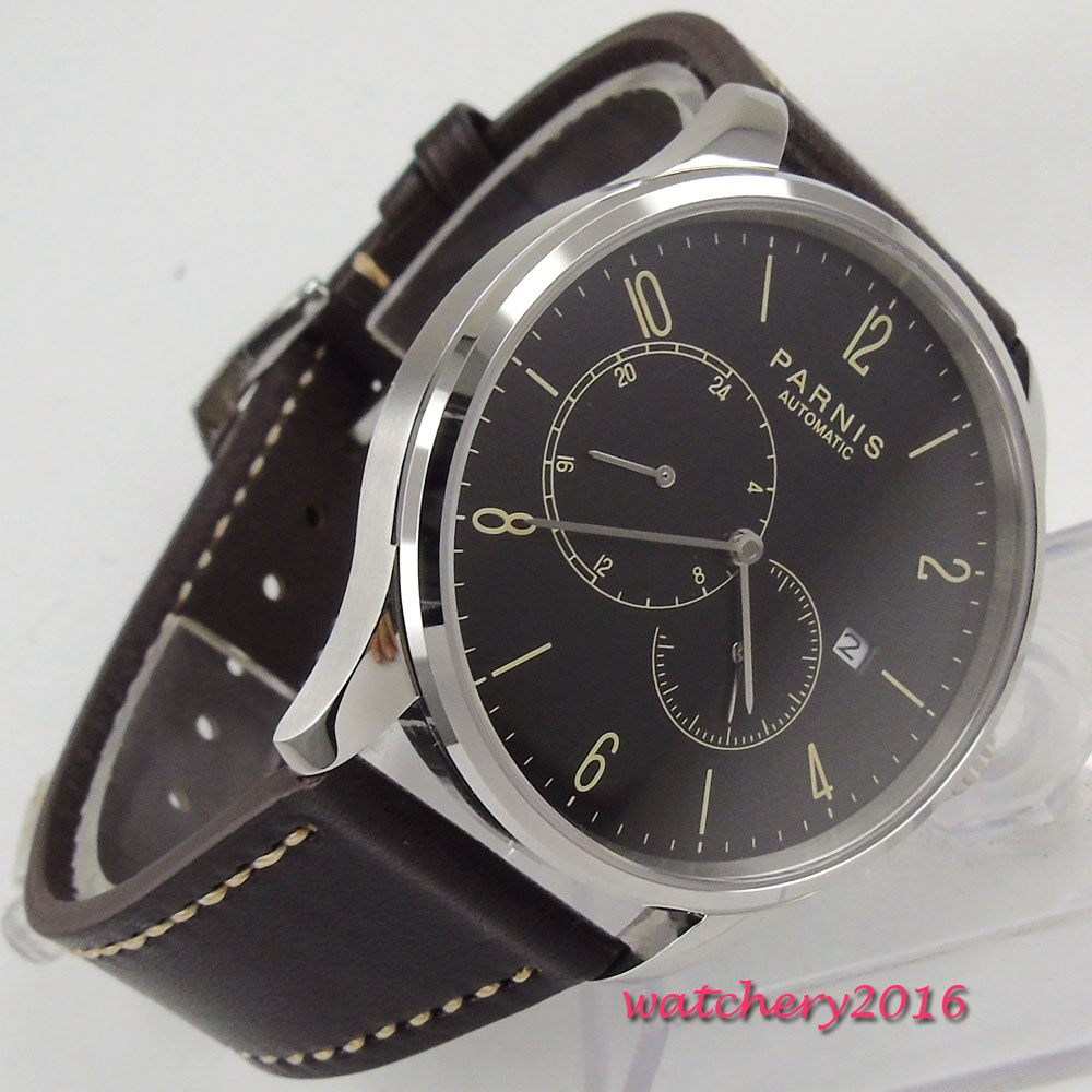 Romantic 42mm Parnis black dial Luxury brand Steel case Valentines Date Leather Miyota Automatic movement Men's business Watch цена и фото