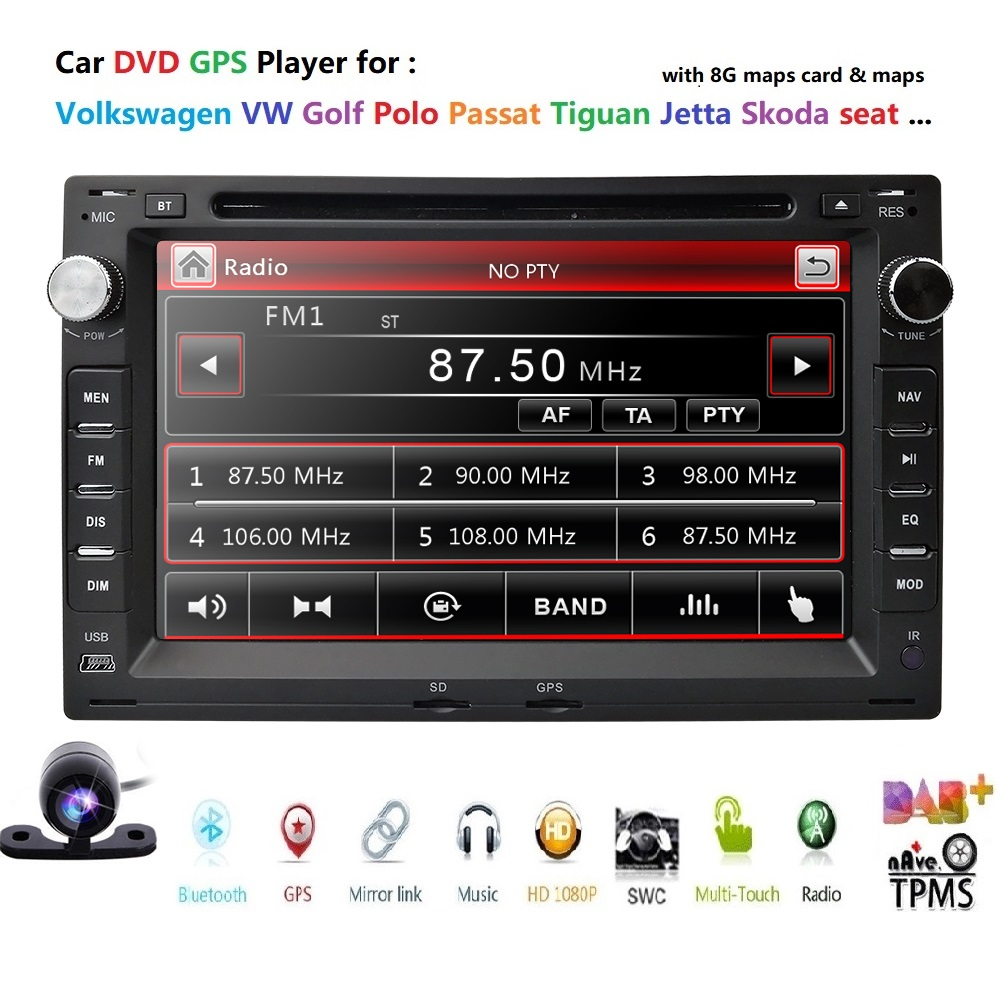 Lecteur DVD de voiture pour VW PASSAT B5 MK5 GOLF MK3 IV MK4 Polo MK4 Transporter T5 BORA Ford Galaxy Sharan siège 7