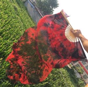 Image 2 - Groothandel Tie Dye Pure Zijde Fan Sluiers China Traditionele Bamboe Lange Fan Voor Bellydancer Oosterse Dans Praktijk Gratis Verzending