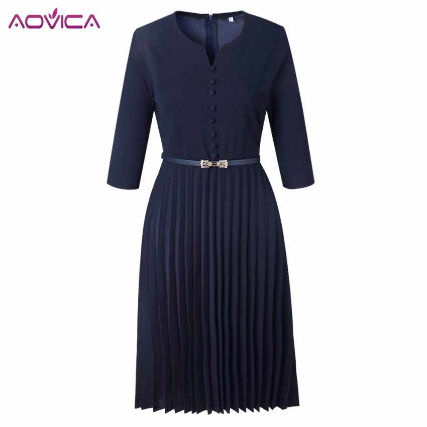 Aovica Special Design 2018 Popular Casual Style Women Dress Solid V-Neck 3/4 Sleeve Pleated Midi Dress Vestidos