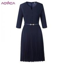 Solid V-Neck 3/4 Sleeve Pleated Midi Dress