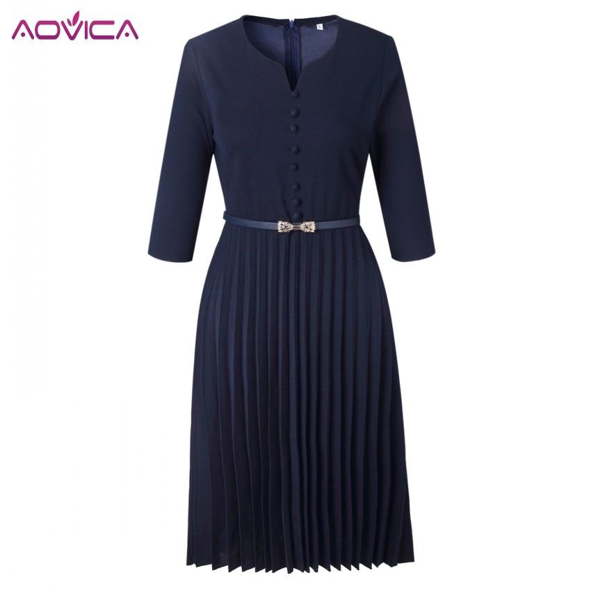 Aovica Special Design 2018 Popular Casual Style Women Dress Solid V-Neck 3/4 Sleeve Pleated Midi Dress Vestidos