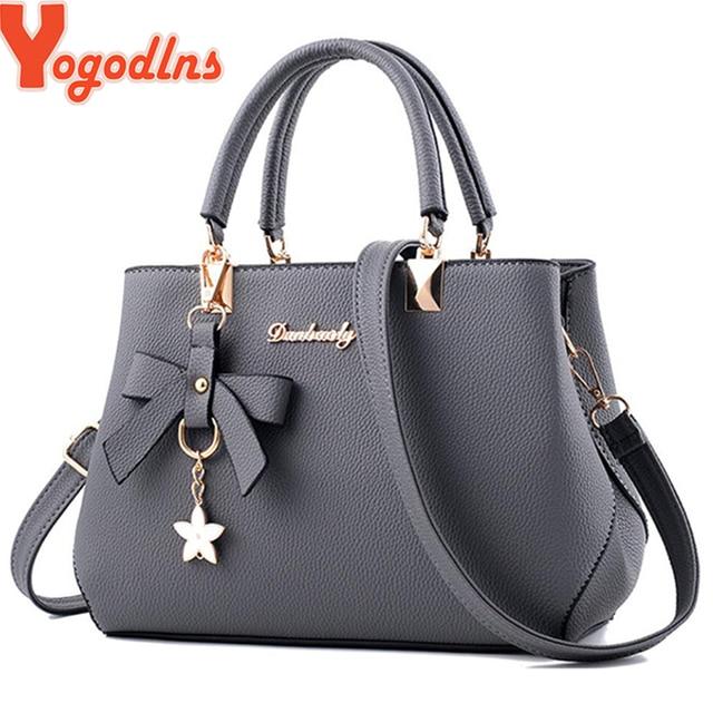 538b7bf753564 Yogodlns Neue 2019 Elegante Schulter Tasche Frauen Designer Luxus  Handtaschen Frauen Taschen Pflaume Bogen Süße Messenger